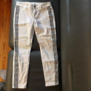 White Bohemian Black Side Print Denim Jeans